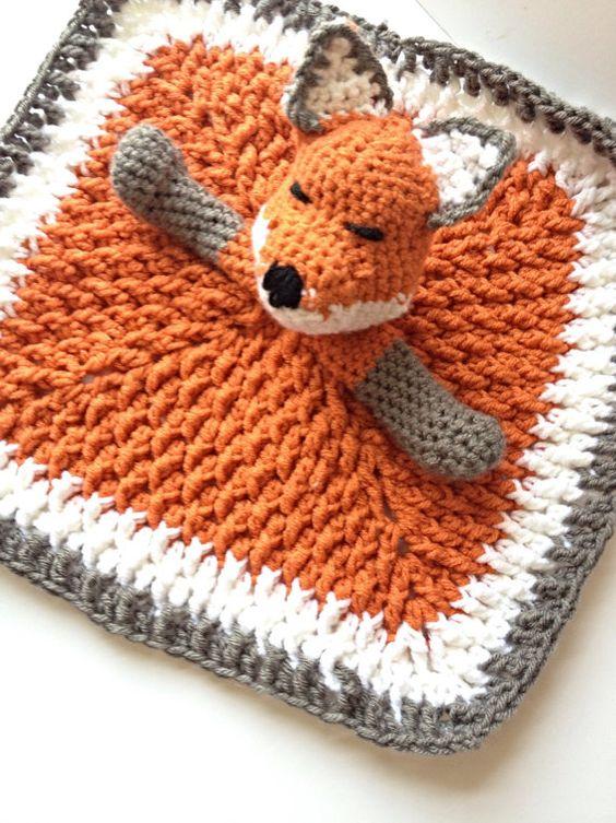 Free Crochet Fox Blanket Pattern : Fox Lovey Crochet baby, Toys and Infants
