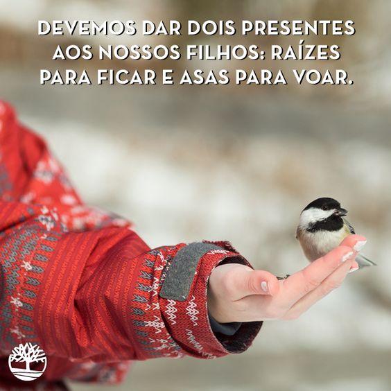 Devemos dar dois presentes aos nossos filhos: raízes para ficar e asas para voar. #Frases