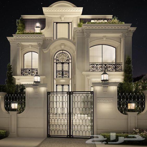 تصميم ديكور واجهات فلل حجر كسر رخام بروفايل Classic House Design House Designs Exterior Exterior Design