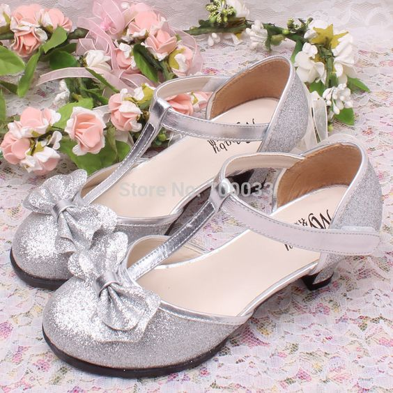 2014 New Glitter Pink High Heel Children Shoes Girls Princess