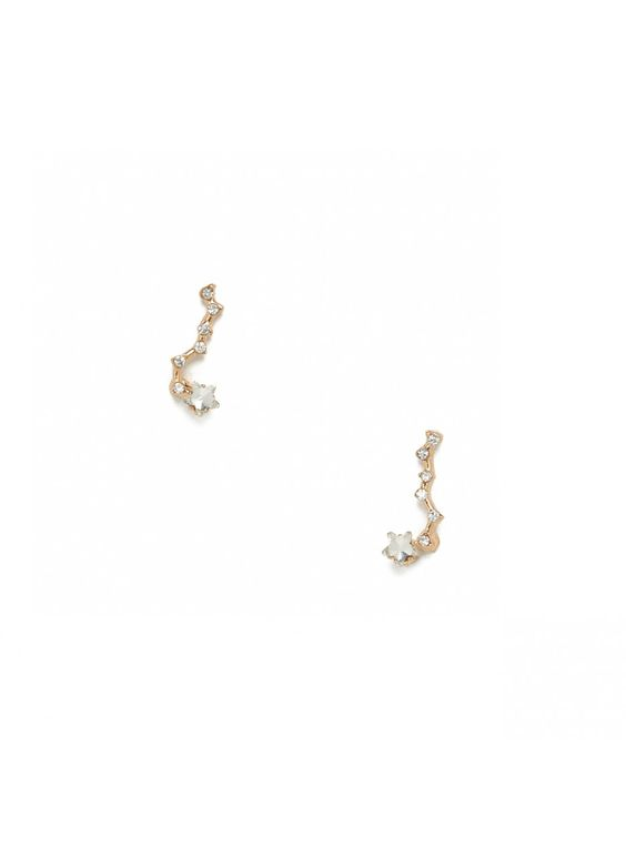 Follow a path to the stars in a dainty line of tiny crystals.Post back Materials: crystal, plated base metal Length: 0.75