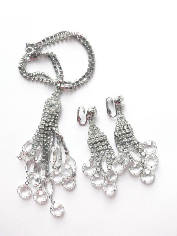 Vintage jewellry. Rare, designer, crystal Necklace earring set  $148.00