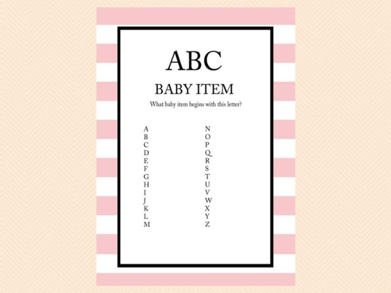 abc baby item game pink baby shower games printable baby shower game