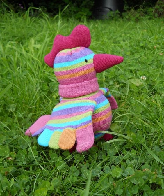 Sock chicken, handmade sock animal, stuffed toy, soft sculpture, Betty