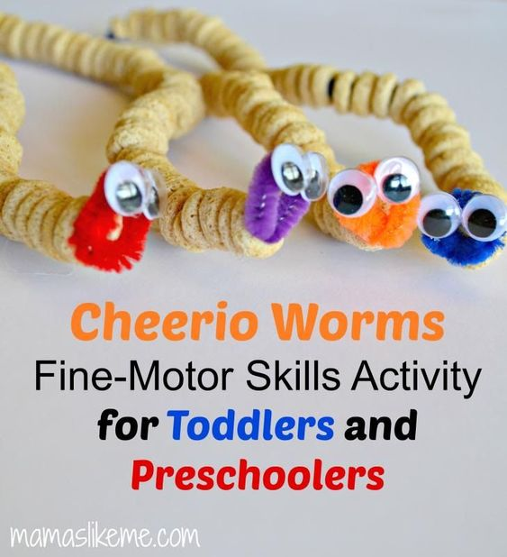 Cheerio Worms Simple Fine Motor Skills Activity For