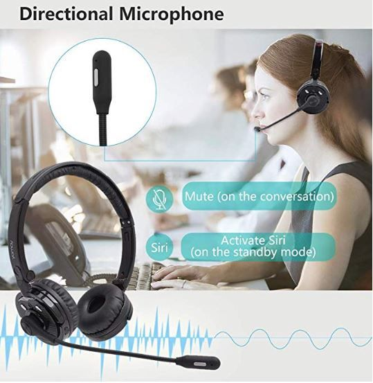 Bluetooth Headphones With Microphone Yamay Bluetooth Headset Wireless Headphones On Ear With Noise Can In 2020 Headphones With Microphone Headset Bluetooth Headphones