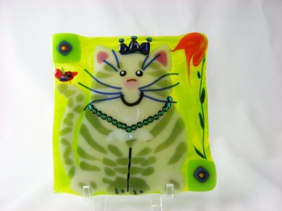 Cat fused glass wall decor