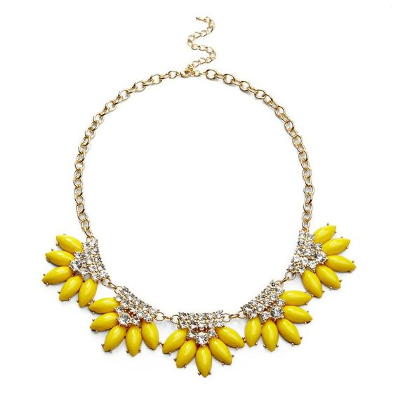 Jeweled Yellow Flowers Necklace.