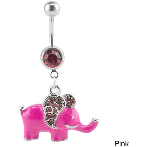 Supreme Jewelry Crystal Elephant Belly Ring ($9.34) ❤ liked on Polyvore featuring jewelry, belly ring, pink, body jewelry, crystal jewelry, body jewellery, elephant jewelry and crystal stone jewelry