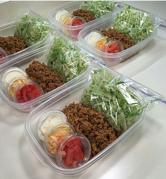 Taco salad meal prep...with reusable condiment cups..ain't got time for that!