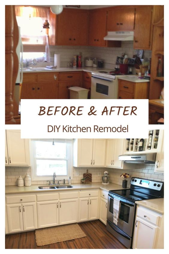 Kitchen DIY Renovation Before and After, Painting Cabinets #kitchenremodel #renovation