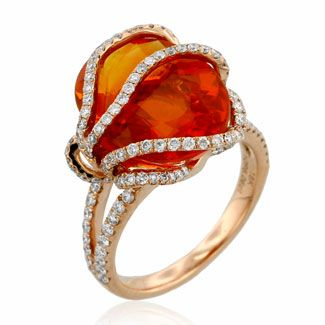 YAEL Designs 6.06 ct Fire Opal & Diamond Ring, 18k rose gold