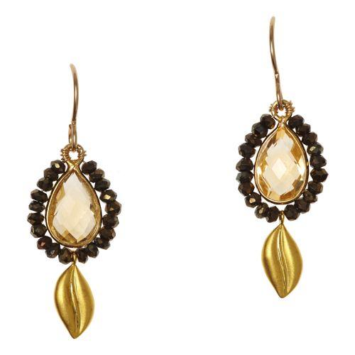 Leaf Dangle Cluster Earrings w/ Citrine and Garnet $186