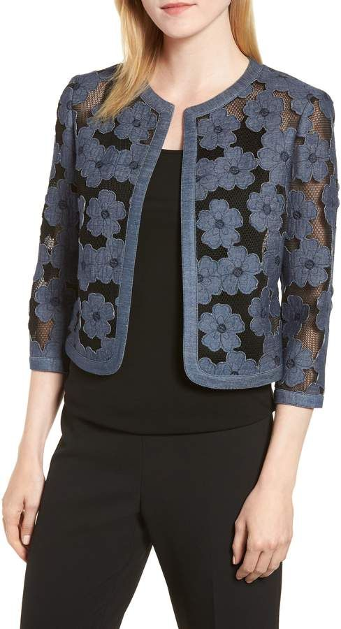 Anne Klein Floral Embroidered Mesh Cardigan | Sweaters women