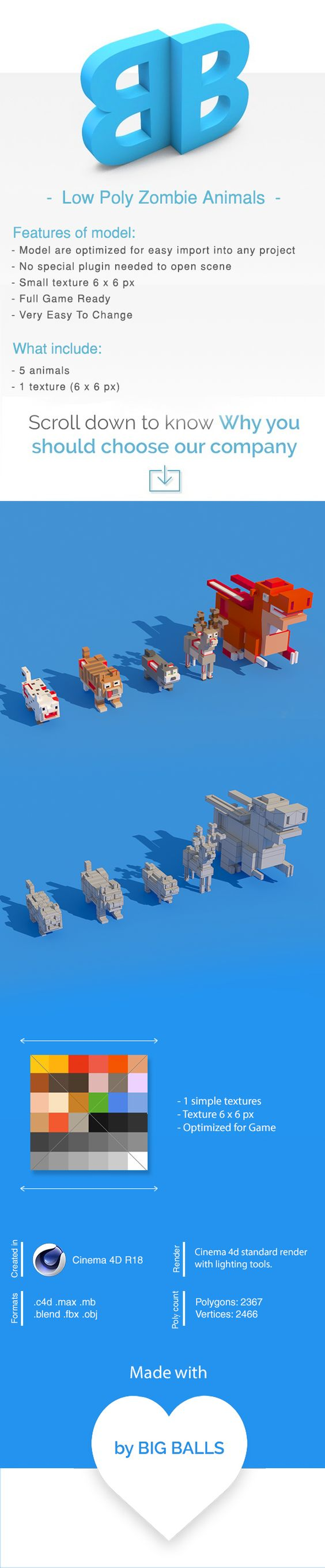Low Poly Amimals Pack - Cartoon Crossy Road - 1