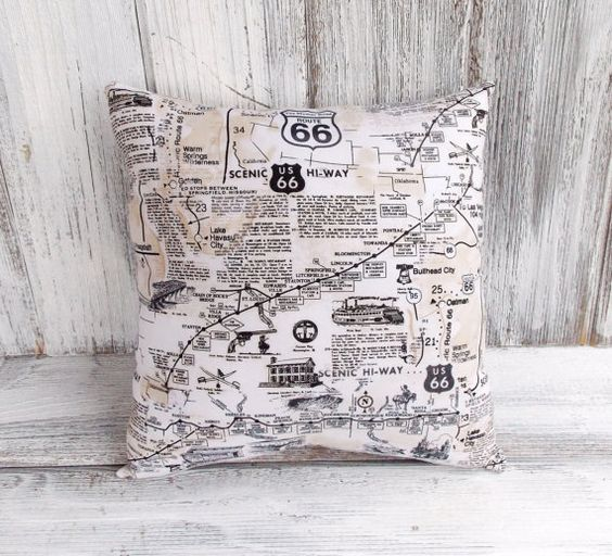 Route 66 map pillow cushion for home decor scenic highway for Home decor on highway 6