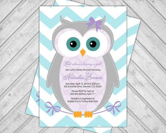 baby shower invitations girl owl 784a por willowlaneinvites en Etsy