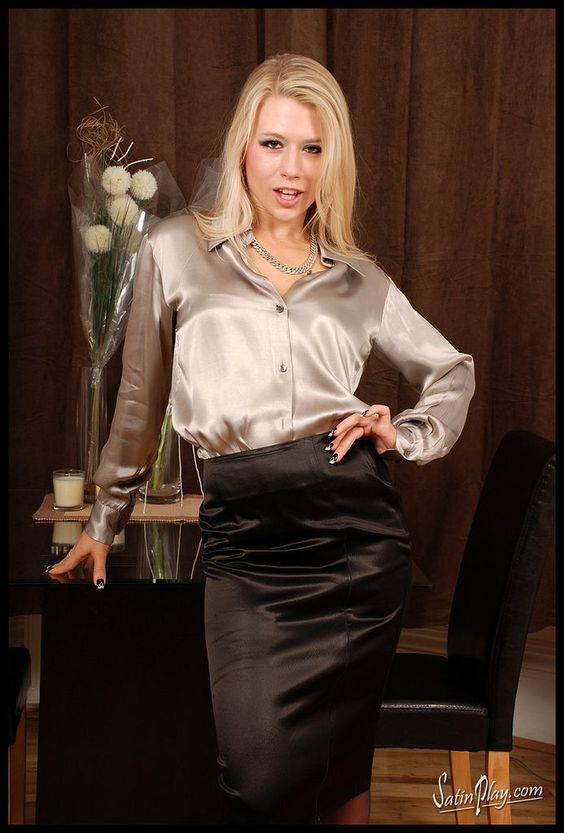 Black Satin Pencil Skirt and Gold Satin Blouse | SATIN | Pinterest ...