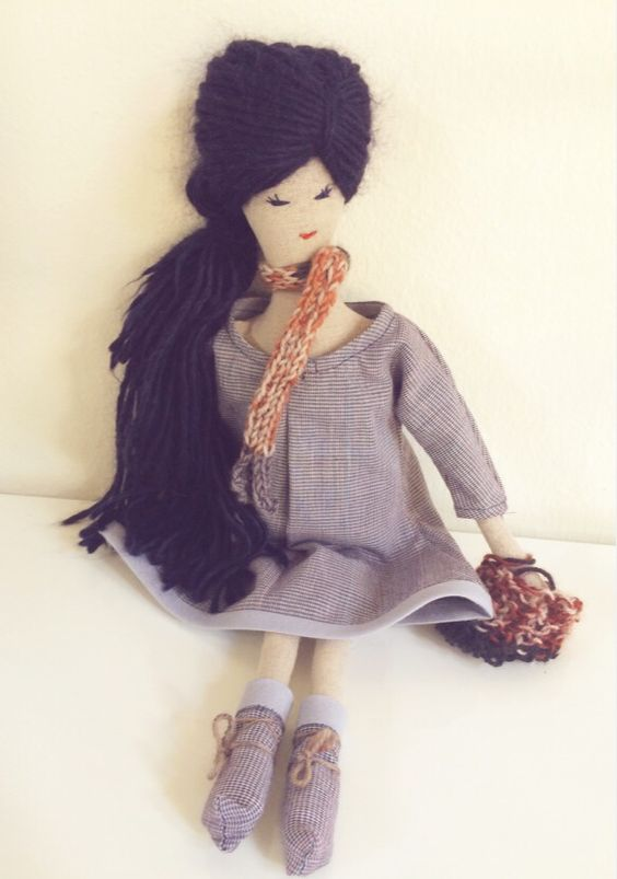 Art Doll - Rag doll from Adeline et Sidonie - Emily is unique as well as her dress and accessories.