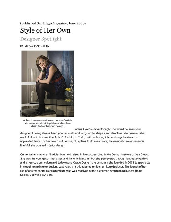 Style of her Own - San Diego Magazine Living Resume Pinterest - san diego resume