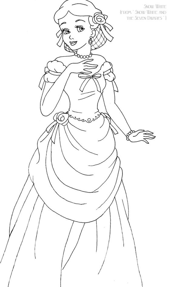Snow White Deluxe Gown Lineart By LadyAmber On DeviantArt