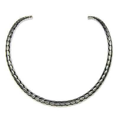 Sterling silver choker, 'Rice Harvest' - Minimalist Sterling Silver Choker from Bali (image 2a)