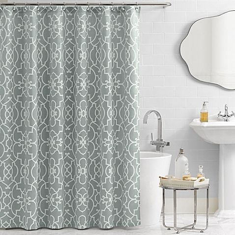 A pattern reminiscent of wrought-iron scrollwork coupled with a calming azure background give the Vue Signature Iron Gates Shower Curtain a distinctly elegant, English appeal. This curtain is made of an easy to care for woven jacquard.: