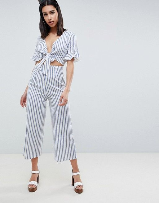 ASOS | ASOS DESIGN tea jumpsuit with cut out and tie detail in linen in stripe