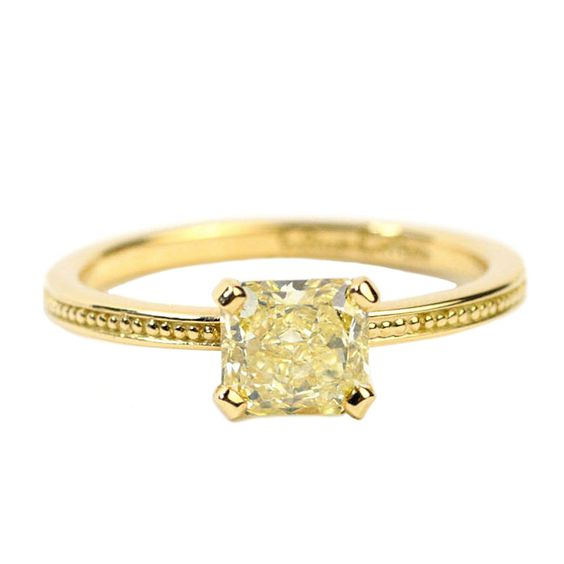 Gold and Fancy Intense Yellow Diamond Granulated Ring