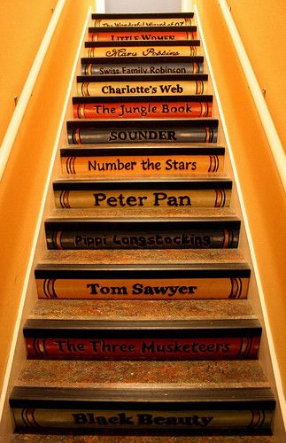 I really, really want to do this...........oh, my crafty and creative friends....what do you think?? Would this work in my house??? I LOVE this!!! Favorite books staircase...would be great going up to a kids play area/bonus room.