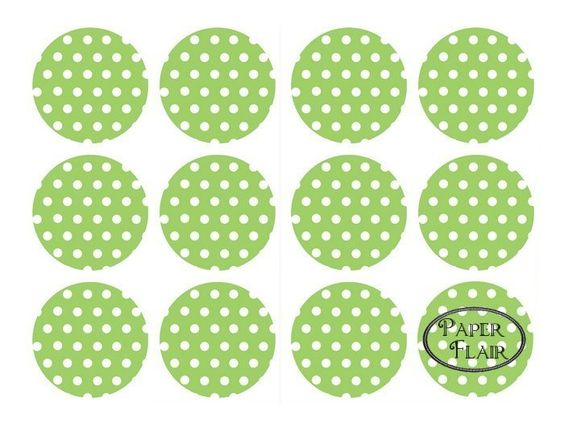 Sticker Polka Dots grün/weiß- 24 Stck.