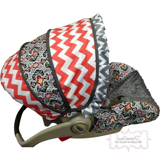 Garden Charm with Coral Chevron Infant Carseat by sewcuteinaz, $65.00