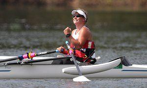 Great Britain's Rachel Morris celebrates winning gold in the women's single…