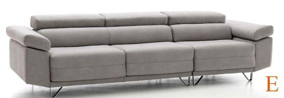 Sof 4 plazas 302 cm asientos deslizantes y cabezales for Sofas 4 plazas reclinables