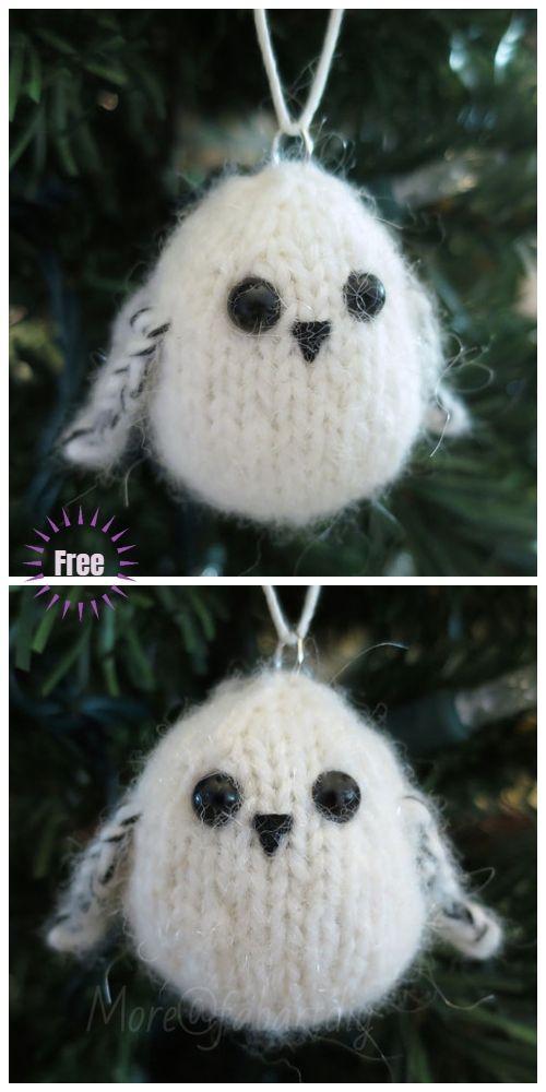 Owl Christmas Ornament Owl Ornament Owl in Hat Ornament Stuffed Owl Knit Owl Ornament Holiday Owl Toy Stuffed Owl Strawberry Hat Owl