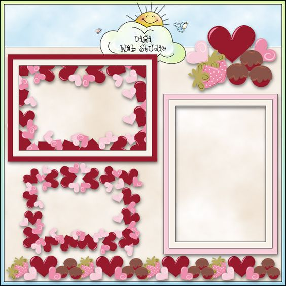 My Valentine Frames 1 - Non-Exclusive Trina Clark Clip Art : Digi Web Studio, Clip Art, Printable Crafts & Digital Scrapbooking!