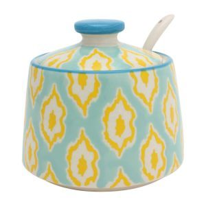 Bali Ikkat Sugar Bowl in Mint and Yellow