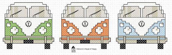 free VW van cross stitch pattern from Hancock's House of Happy. so cute!