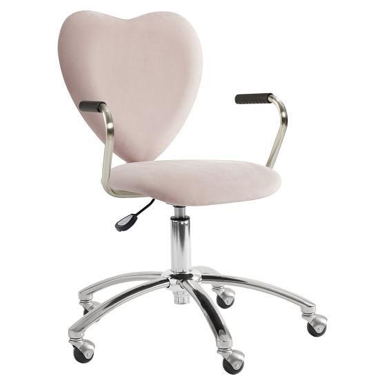 Dusty Blush Lustre Velvet Heart Airgo Swivel Desk Chair Desk Chair Swivel Chair Desk Gamer Room