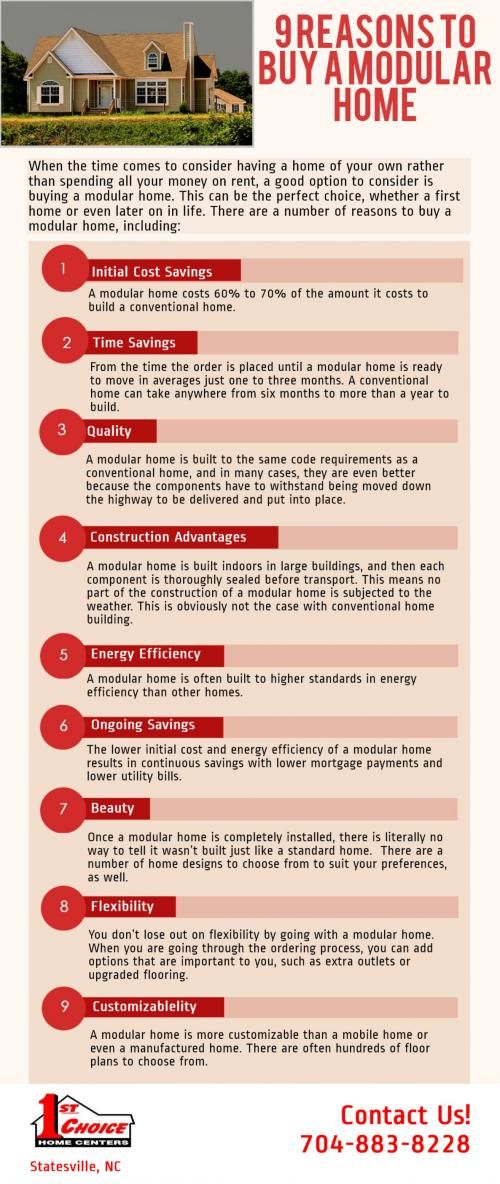 9 Reasons to Buy a Modular Home [infographic] http://1stchoicehomecenters.
