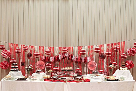 Relief Society Red and White Party.  Dessert Table
