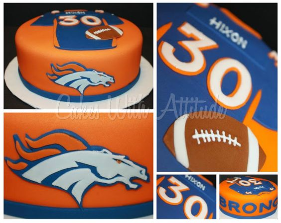 Denver Broncos cake - could put name and age for number on jersey for a birthday cake