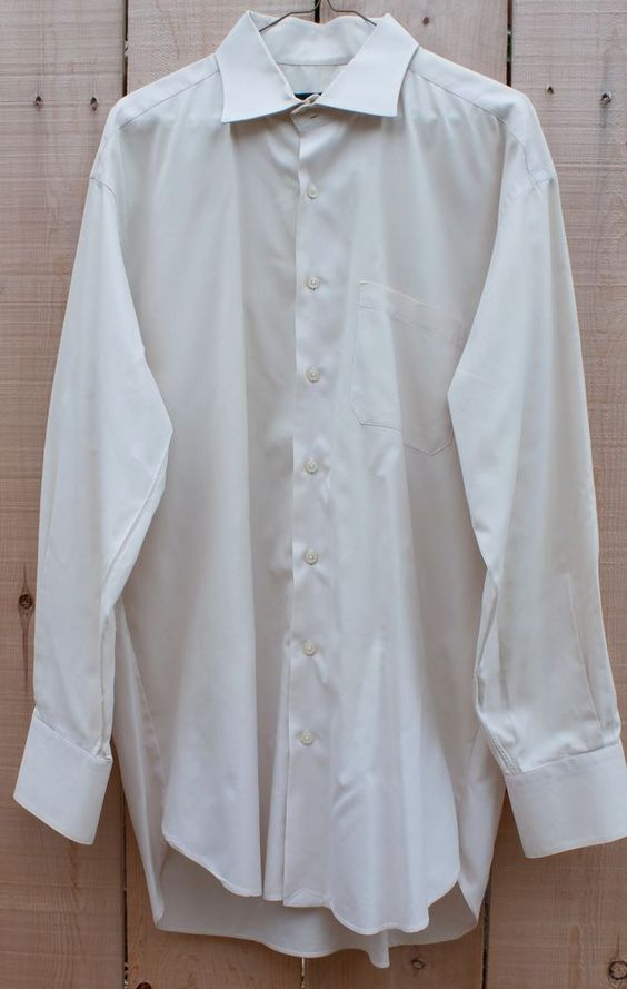 Robert Talbott XL Trim Ecru Beige Long Sleeve Mens Dress Shirt 17 1/2  35 Cotton #RobertTalbott