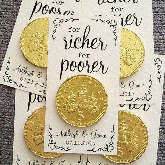 """""""For Richer or Poorer"""" wedding favor"""