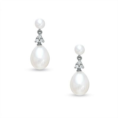 For the day of...          Cultured Freshwater Pearl and Diamond Accent Drop Earrings in 10K White Gold  - Peoples Jewellers