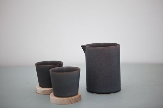 yumiko iihoshi | porcelain utage tool set (cups and coasters nest inside the pitcher)