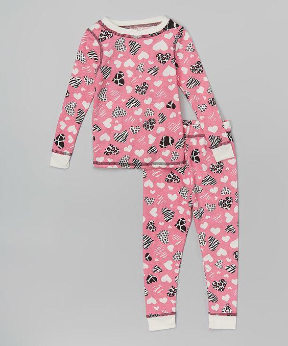 Pink Animal Heart Long Underwear Set - Toddler & Girls by Cuddl Duds #zulily #zulilyfinds