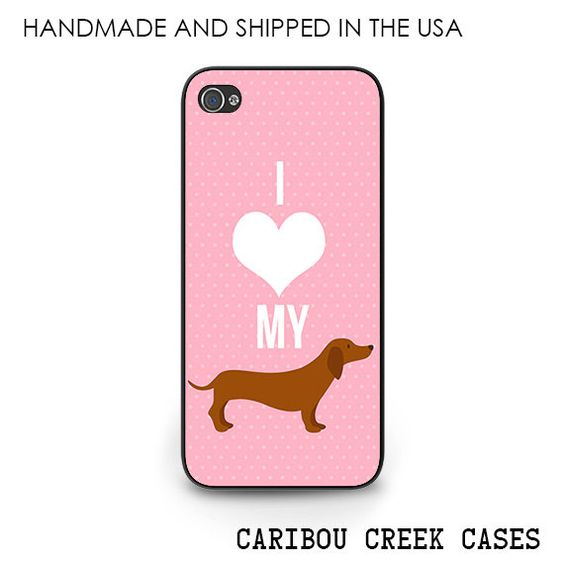 Weiner Dog Phone Case  I love my Doxie iPhone by CaribouCreekCases