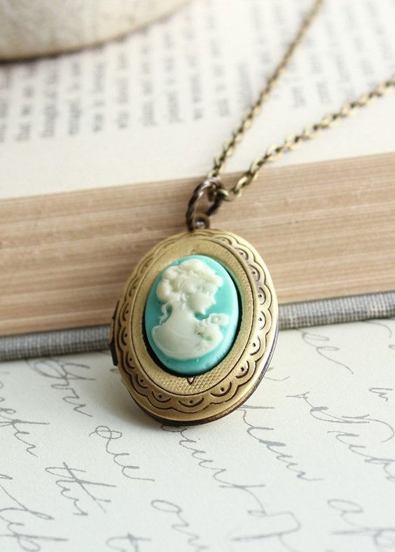 Oval Locket Necklace, Aqua Blue Cameo Pendant