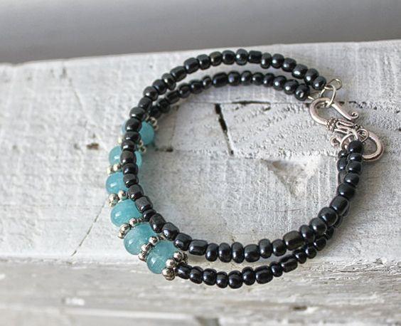 Black czeck crystal bracelet with dyed blue cristals.  by eendar, €8.20